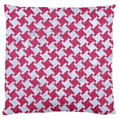 HOUNDSTOOTH2 WHITE MARBLE & PINK DENIM Large Cushion Case (One Side)