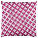 HOUNDSTOOTH2 WHITE MARBLE & PINK DENIM Large Cushion Case (Two Sides) Front
