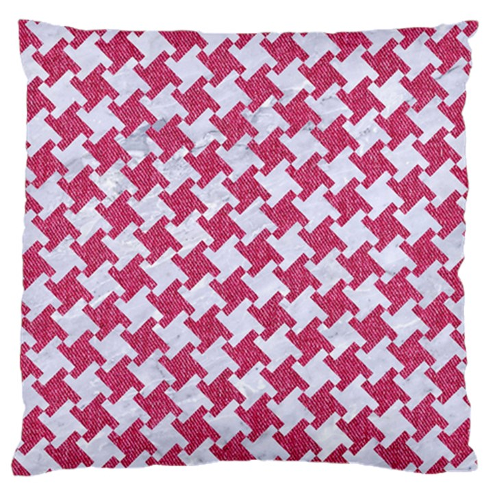 HOUNDSTOOTH2 WHITE MARBLE & PINK DENIM Large Cushion Case (Two Sides)