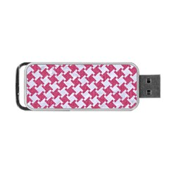HOUNDSTOOTH2 WHITE MARBLE & PINK DENIM Portable USB Flash (One Side)