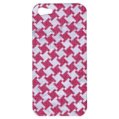 HOUNDSTOOTH2 WHITE MARBLE & PINK DENIM Apple iPhone 5 Hardshell Case