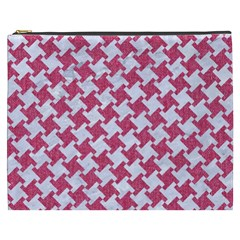 Houndstooth2 White Marble & Pink Denim Cosmetic Bag (xxxl)