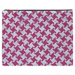 HOUNDSTOOTH2 WHITE MARBLE & PINK DENIM Cosmetic Bag (XXXL)  Front