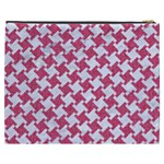 HOUNDSTOOTH2 WHITE MARBLE & PINK DENIM Cosmetic Bag (XXXL)  Back