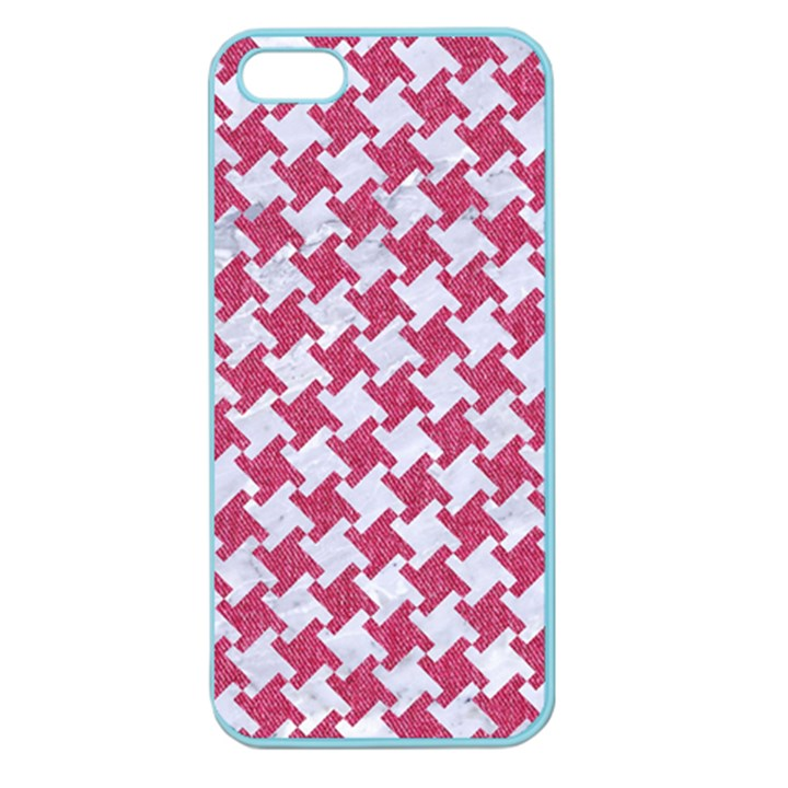 HOUNDSTOOTH2 WHITE MARBLE & PINK DENIM Apple Seamless iPhone 5 Case (Color)