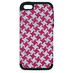 Houndstooth2 White Marble & Pink Denim Apple Iphone 5 Hardshell Case (pc+silicone)