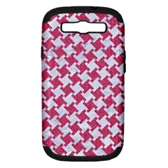 Houndstooth2 White Marble & Pink Denim Samsung Galaxy S Iii Hardshell Case (pc+silicone)