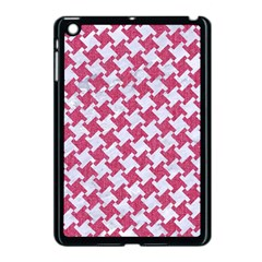 HOUNDSTOOTH2 WHITE MARBLE & PINK DENIM Apple iPad Mini Case (Black)