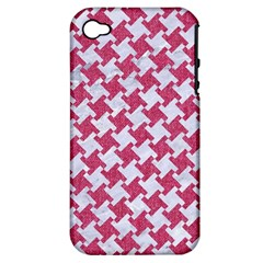 Houndstooth2 White Marble & Pink Denim Apple Iphone 4/4s Hardshell Case (pc+silicone) by trendistuff