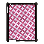 HOUNDSTOOTH2 WHITE MARBLE & PINK DENIM Apple iPad 3/4 Case (Black) Front