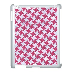 HOUNDSTOOTH2 WHITE MARBLE & PINK DENIM Apple iPad 3/4 Case (White)