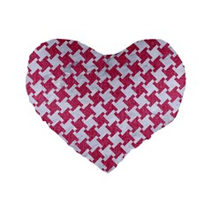 HOUNDSTOOTH2 WHITE MARBLE & PINK DENIM Standard 16  Premium Heart Shape Cushions