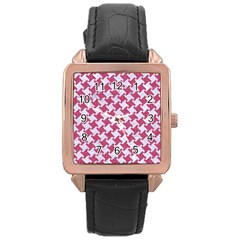 Houndstooth2 White Marble & Pink Denim Rose Gold Leather Watch