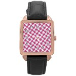 HOUNDSTOOTH2 WHITE MARBLE & PINK DENIM Rose Gold Leather Watch  Front