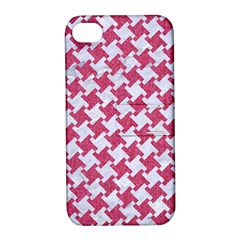 Houndstooth2 White Marble & Pink Denim Apple Iphone 4/4s Hardshell Case With Stand by trendistuff