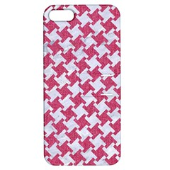 Houndstooth2 White Marble & Pink Denim Apple Iphone 5 Hardshell Case With Stand by trendistuff
