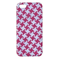 Houndstooth2 White Marble & Pink Denim Apple Iphone 5 Premium Hardshell Case by trendistuff