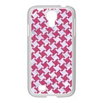 HOUNDSTOOTH2 WHITE MARBLE & PINK DENIM Samsung GALAXY S4 I9500/ I9505 Case (White) Front