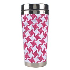 HOUNDSTOOTH2 WHITE MARBLE & PINK DENIM Stainless Steel Travel Tumblers