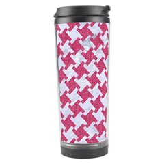 Houndstooth2 White Marble & Pink Denim Travel Tumbler