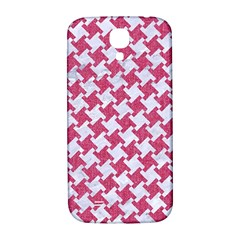 Houndstooth2 White Marble & Pink Denim Samsung Galaxy S4 I9500/i9505  Hardshell Back Case by trendistuff