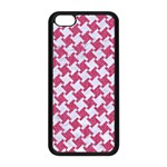 HOUNDSTOOTH2 WHITE MARBLE & PINK DENIM Apple iPhone 5C Seamless Case (Black) Front