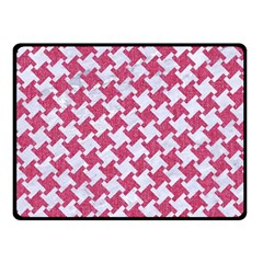 HOUNDSTOOTH2 WHITE MARBLE & PINK DENIM Double Sided Fleece Blanket (Small)