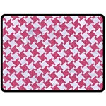 HOUNDSTOOTH2 WHITE MARBLE & PINK DENIM Double Sided Fleece Blanket (Large)  80 x60 Blanket Front