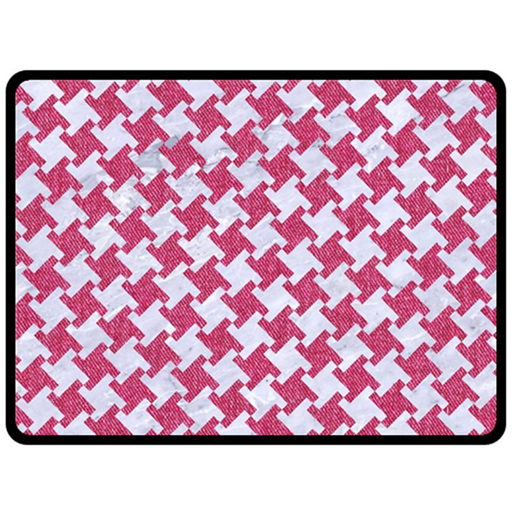 HOUNDSTOOTH2 WHITE MARBLE & PINK DENIM Double Sided Fleece Blanket (Large)