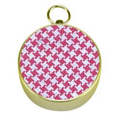HOUNDSTOOTH2 WHITE MARBLE & PINK DENIM Gold Compasses