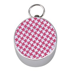 HOUNDSTOOTH2 WHITE MARBLE & PINK DENIM Mini Silver Compasses