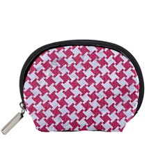 HOUNDSTOOTH2 WHITE MARBLE & PINK DENIM Accessory Pouches (Small)
