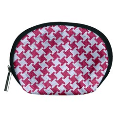 HOUNDSTOOTH2 WHITE MARBLE & PINK DENIM Accessory Pouches (Medium)