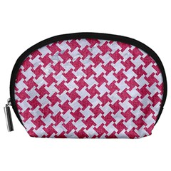 HOUNDSTOOTH2 WHITE MARBLE & PINK DENIM Accessory Pouches (Large)