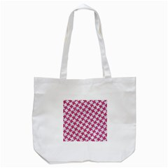 HOUNDSTOOTH2 WHITE MARBLE & PINK DENIM Tote Bag (White)