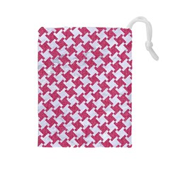 HOUNDSTOOTH2 WHITE MARBLE & PINK DENIM Drawstring Pouches (Large)
