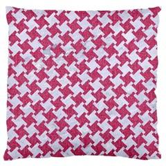 Houndstooth2 White Marble & Pink Denim Large Flano Cushion Case (one Side) by trendistuff