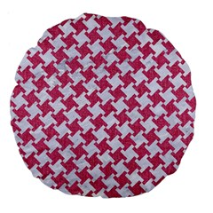Houndstooth2 White Marble & Pink Denim Large 18  Premium Flano Round Cushions by trendistuff