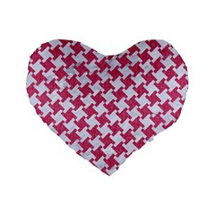 Houndstooth2 White Marble & Pink Denim Standard 16  Premium Flano Heart Shape Cushions