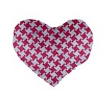 HOUNDSTOOTH2 WHITE MARBLE & PINK DENIM Standard 16  Premium Flano Heart Shape Cushions Front