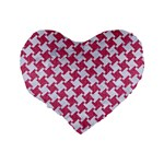 HOUNDSTOOTH2 WHITE MARBLE & PINK DENIM Standard 16  Premium Flano Heart Shape Cushions Back