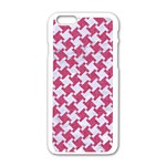 HOUNDSTOOTH2 WHITE MARBLE & PINK DENIM Apple iPhone 6/6S White Enamel Case Front