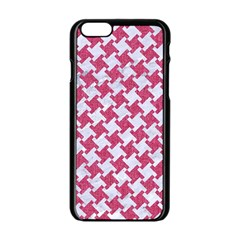 Houndstooth2 White Marble & Pink Denim Apple Iphone 6/6s Black Enamel Case by trendistuff