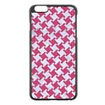 HOUNDSTOOTH2 WHITE MARBLE & PINK DENIM Apple iPhone 6 Plus/6S Plus Black Enamel Case Front