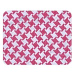 HOUNDSTOOTH2 WHITE MARBLE & PINK DENIM Double Sided Flano Blanket (Large)  80 x60 Blanket Front