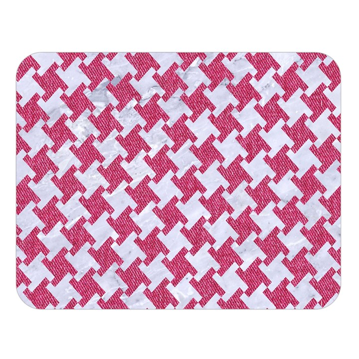 HOUNDSTOOTH2 WHITE MARBLE & PINK DENIM Double Sided Flano Blanket (Large)