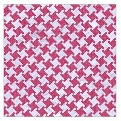 Houndstooth2 White Marble & Pink Denim Large Satin Scarf (square)