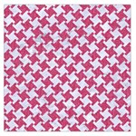 HOUNDSTOOTH2 WHITE MARBLE & PINK DENIM Large Satin Scarf (Square) Front