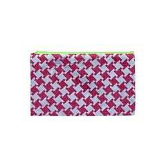 Houndstooth2 White Marble & Pink Denim Cosmetic Bag (xs) by trendistuff