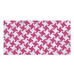 Houndstooth2 White Marble & Pink Denim Satin Shawl